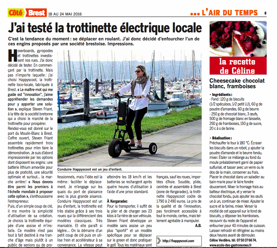 The article has been published on May 18 2016 in the Coté Brest newspaper